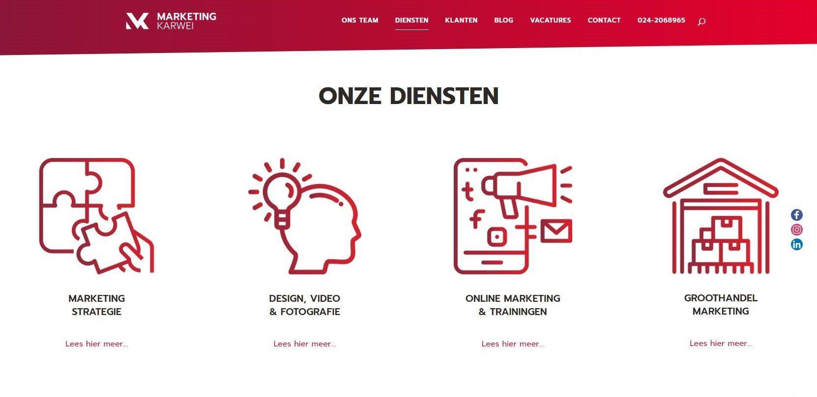 cross-selling - screenshot diensten pagina